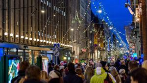 Julgatan i Helsingfors.