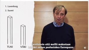 """Ruutukaappaus videosta, jossa näkyy Liike Nyt -kansanedustajaehdokas Hjallis Harkimo ja hänen teksitetty puheensa """"Tiesittekste että meillä maksetaan toiseksi eniten puoluetukea Euroopassa """"."""
