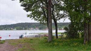 En liten träddunge på en udde invid Lovisavikens östra strand. Utsikt mot Lovisa gamla stad och segelbåtar.