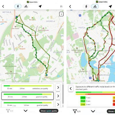 Erilaisia reittejä karttapohjilla mobiilinäytöllä, toinen on jalankulkijalle ja toinen pyöräilijälle.