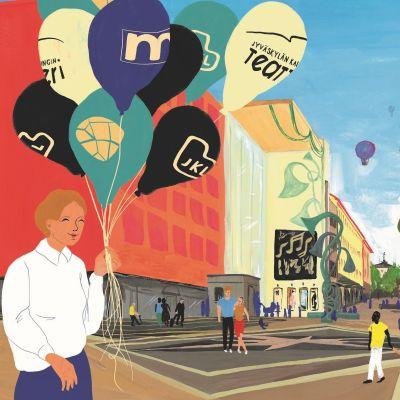 Taiteilija Ilona Partasen näkemyksessä 9-korttelin kehittäminen mahdollistaisi vaikkapa uuden hotellin Kompassi-risteykseen, kauppakeskus Forumin yhteyteen.
