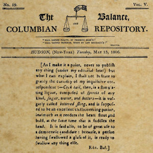 Amerikanskt tidningsurklipp om definitionen av en cocktail.