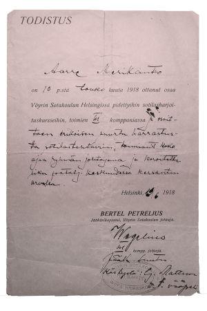 Todistus ylennyksestä kersantiksi 19. kesäkuuta 1918.