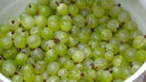 Gröna krusbär i skål