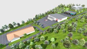 Ett bildmontage som visar hur fyra stora låga affärs- och andra hus placeras på ett område. Husen omges av parkeringsområden och parkaktig skog.  Bilden har fågelperspektiv.