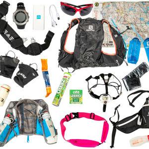 Special utrustning för att springa på stigar, bland annat pannlampa, karta, vattenväska och ett vattenbälte.