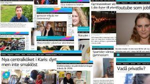 Ett bildkollage av artiklar publicerade fö i Yle Nyhetsskolan