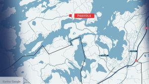 En karta som visar var Paavola, årets nyländska by, ligger.