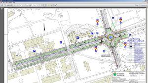 Gatuplanskarta som visar hur den planerade rondellen i korsningen av Raseborgsvägen och Flemingsgatan i Ekenäs skulle se ut.