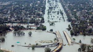 Översvämning i New Orleans efter orkanen Katrina.