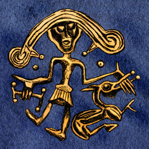 Amulett föreställande Tyr och Fenrisulven