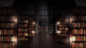 Ett upplyst bibliotek.