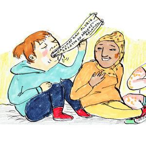 """En illustration av, till synes, fyra kvinnor. En äter upp en lapp där det står """"vänskap kan aldrig ersätta en kärleksrelation"""" medan de andra tre skrattar."""