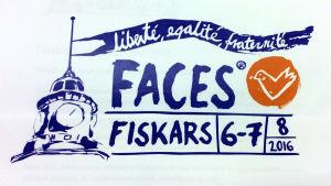 Faces 2016 logotyp. Orden liberté, egalité, franternité med Facesduvan och Fiskars klocktorn.