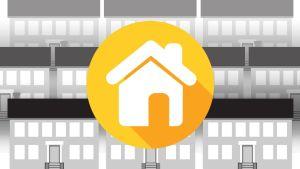 Grafiikka: talon julkisivu, taustalla kerrostaloja.