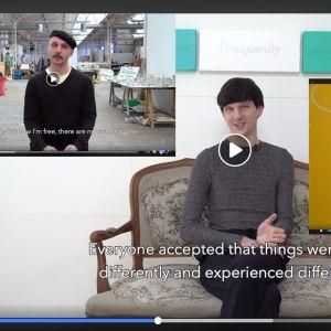 Collage av tre videor där män berättar om maskulinitet.