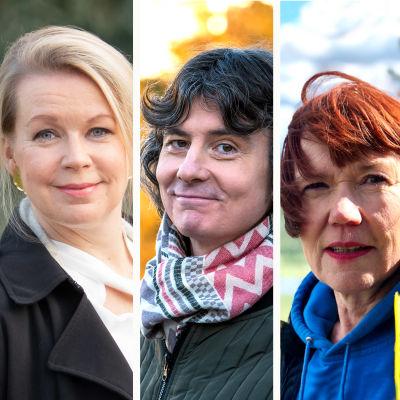 Kirjailijat Kjell Westö, Elina Hirvonen, Antti Tuomainen, Rosa Liksom ja Sirpa Kähkönen