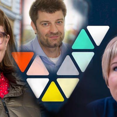 Tre personer infällade över en Veikkaus-logotyp.