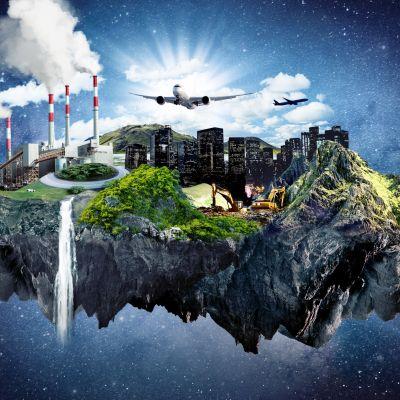 Kuvitus ihmiskunnasta saarella keskellä avaruutta.