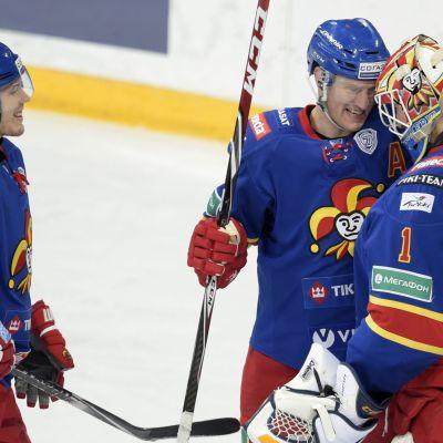 Petteri Wirtanen (t.v.), Ossi Väänänen och Henrik Karlsson, Jokerit, januari 2015