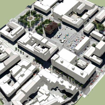 Skiss över hur Jakobstads centrum kan komma te sig