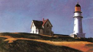 Edward Hoppers målning av Lighthousehill Cape Elisabeth 1927