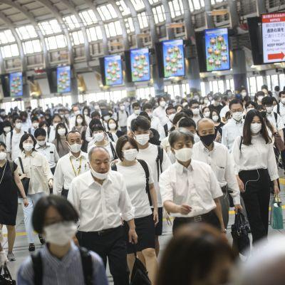 Moni salaryman lähtee aamuvarhain töihin ja tulee vasta ilta myöhällä kotiin. Kuva Shinagawan aseman aamuruuhkasta.