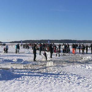 Många människor står på isen. Några barn sitter på isstatyer som åker runt på en iskarusell.