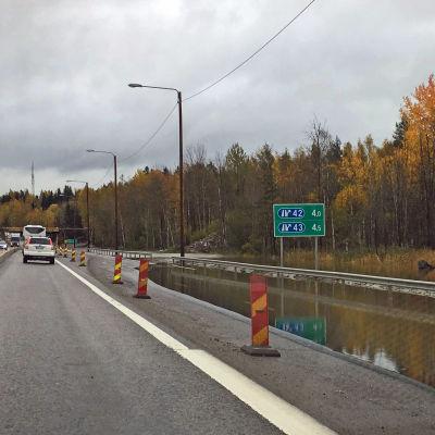 Översvämning på Åboleden.