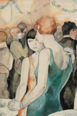 Jeanne Mammen. Zwei Frauen, tanzend (Två kvinnor, dansande) ca 1928