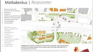 En karta över ett område där det ska byggas ett resecentrum.