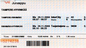 Junalippu vuodelta 2004.