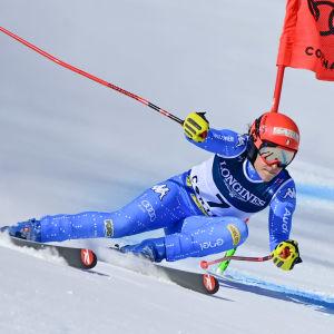 Federica Brignone var snabbast i förmiddagens super-G.