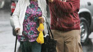 Arkivbild av en man som håller paraplyet för sin mormor i Florida.