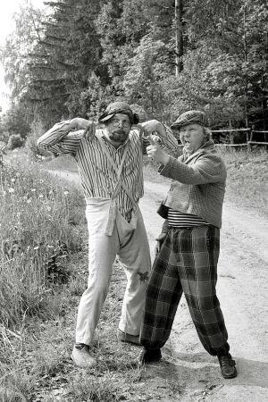 Albin (Kurre Österberg) och Vilgot Mosn Boman (Kaj Rehnberg) i Kryddhulta, 1977