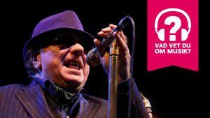 Van Morrison bär hatt och solglasögon och sjunger i en mikrofon som är i en mikrofonställning.