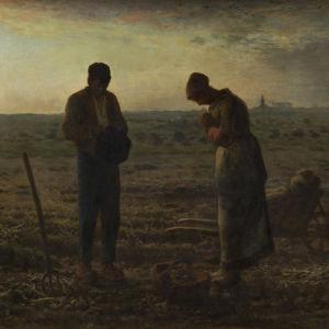Jean-Francois Millet maalaus Iltakellot, jossa mies ja nainen pellonlaidalla hieman kumartuneina eväskorien molemmin puolin.