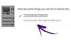 Marked as Fake News Facebookin valikossa