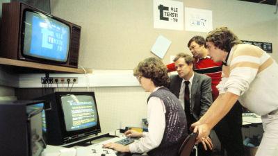 Text-tv:s redakton på 1980-talet.
