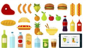 En grafisk bild som föreställer olika matvaror.