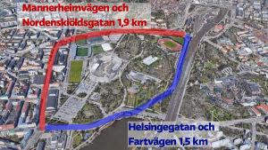 Karta över området kring Olympiastadion.