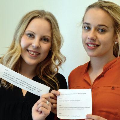 Svenska Handelshögskolans Studentkår i Vasa, Jessica Kock (t.v.) och Alina Söderman.