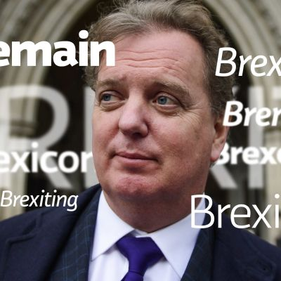 PETER WILDING omgiven av brexitord.