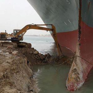 Ever Given på grund i Suezkanalen