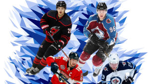 NHL-kiekkoilijat Sebastian Aho, Mikko Rantanen, Patrik Laine ja Aleksandr Barkov Jr.