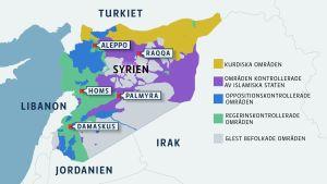 Kartan visar vem som kontrollerar vad i Syrien. Källa: IHS Conflict Monitor (läget den 12 december 2016) och The New York Times