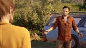 Två animerade personer står framför en bil och diskuterar.