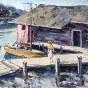 Flicka med segelbåt av Erik Aschan-Rauthovi