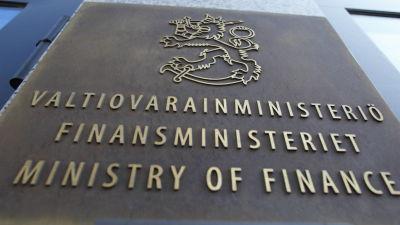Skylt vid Finansministeriet.