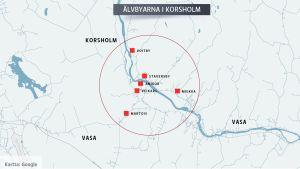 Karta över var älvbyarna Voitby, Staversby, Miekka, Anixor, Veikars och Martois finns i Korsholm.